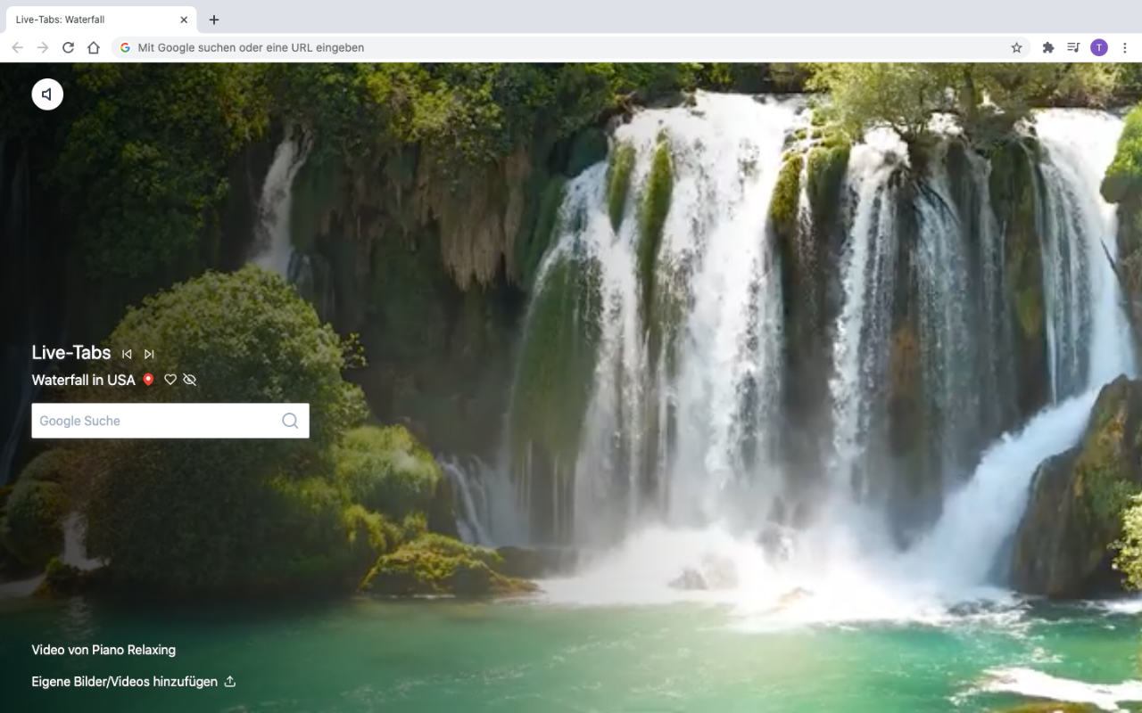 Live waterfall in a browser tab
