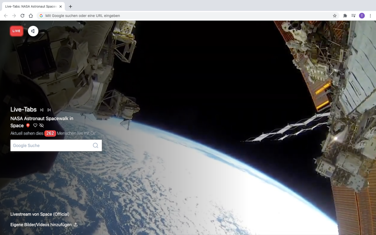 Livestream from the ISS in a browser tab
