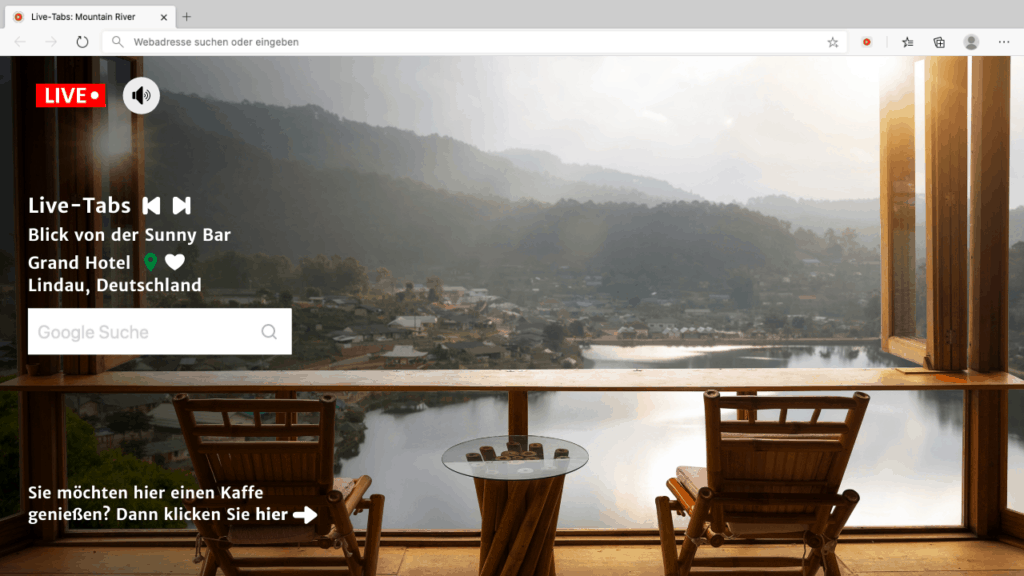 Browser Tab shows view on a lake with search bar and further options