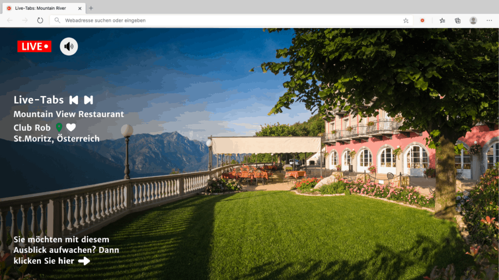 Browser tab shows a restaurant with moutain view with a search bar and other features as overlay