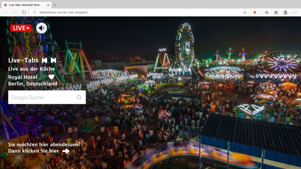 Live Fair with multiple ferris wheels in Browser Tab with Live Tabs Features