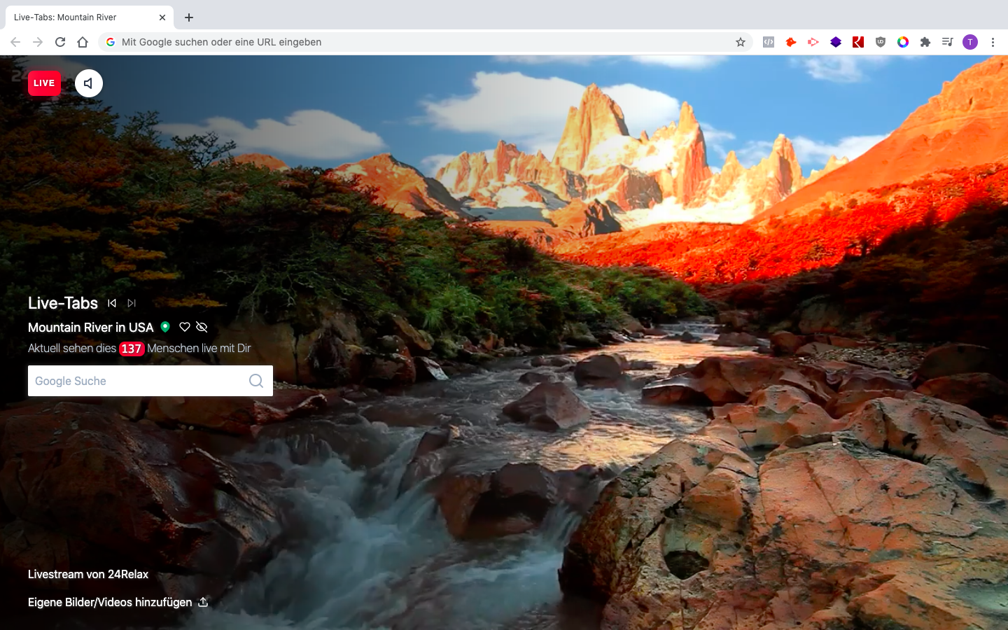 Livestream of a montain river in a browser tab