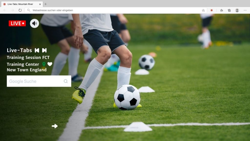 Live Soccer Training in Browser Tab with Live Tabs Features
